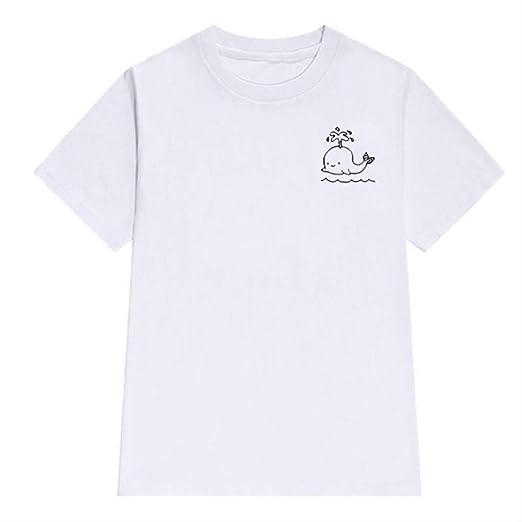 Camiseta para Hombre, Ballena Dibujos Animados Lindos Camisetas Hombres Camisetas Algodón Harajuku O-Cuello Camisetas Algodón Hombres Manga Corta Camisa Blanca Ocasional M: Amazon.es: Ropa y accesorios