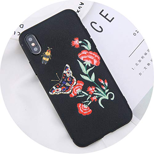 Phone Case for iPhone 7 Plus Embroidery Rose Flower Plum Blossom Cases Back Cover for iPhone X 8 7 6 6s Plus,7172,for iPhone 7 Plus