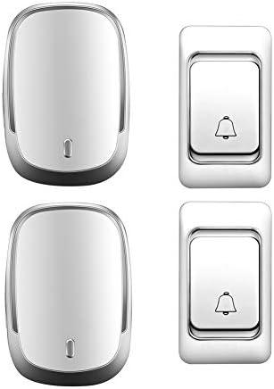 IP44防水ワイヤレスドアベル、ホーム超長距離ドアチャイムキット、2プッシュボタン+2レシーバー、36着メロ、4音量レベル,白