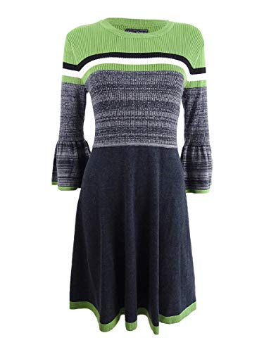Jessica Howard Women's Striped Bell-Sleeve Fit & Flare Sweater Dress (L, Olive)