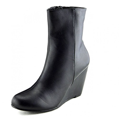 Damen Stiefel Damen Schuhe Knöchel hohe wedges heels smart zip ups bootie-neue Größe Schwarz