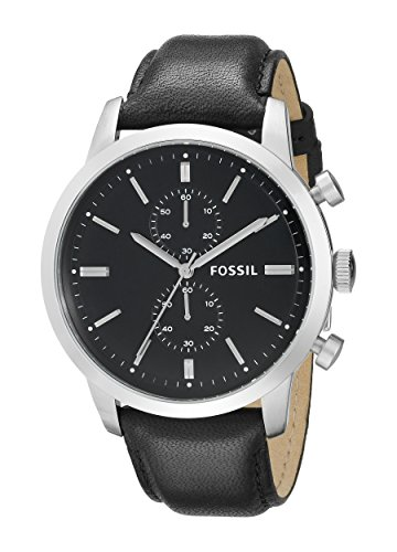 Fossil Men's FS4866 Townsman Stainless Steel Chronograph Watch With Black (Fossil Mens Black Dial Watch)