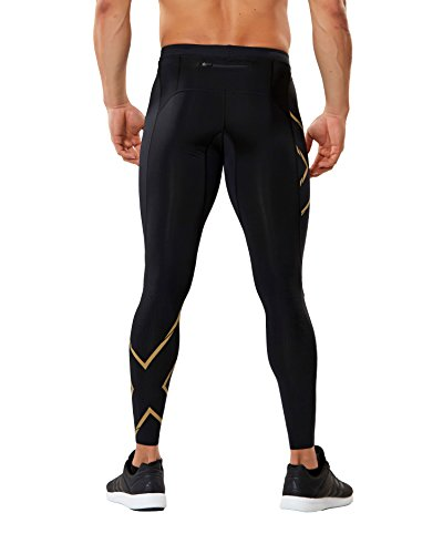2XU Men's MCS Run Compression Tights, Black/Gold, Medium by 2XU (Image #2)