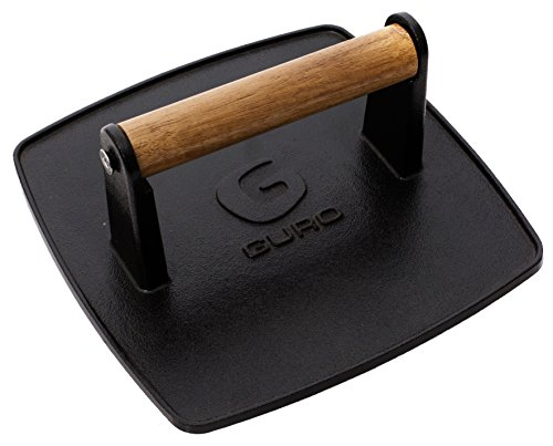 - GURO Pre-seasoned Cast Iron Professional Grill Press, 8-inch x 8 inch, 3.8 pounds GUS101