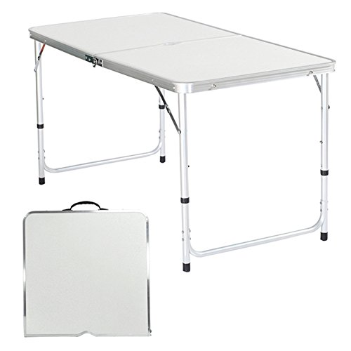4Ft 120 x 60 cm Folding Table Adjustable Height with Carrying Handle & Steel Legs, Portable Plastic Picnic Table for Outdoor Garden BBQ Party Wedding Camping [ US STOCK ]