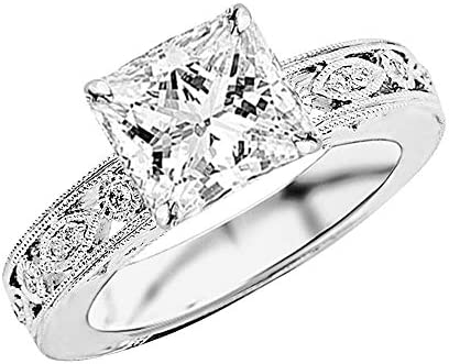 1 Ctw Princess Cut Antique/Vintage Bezel Set Designer 14K White Gold Diamond Engagement Ring With Milgrain (I-J Color I2 Clarity 0.75 Ct Center)