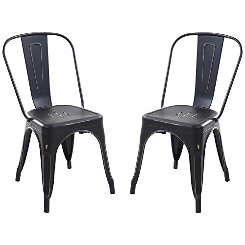 - Poly and Bark Trattoria Side Chair in Distredded Black (Set of 2)