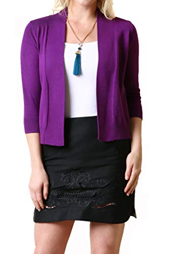 7034 Womens 3/4 Sleeve Open Front Cropped Cardigan Purple M