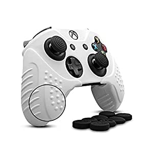 CHINFAI Xbox One/ Xbox One S Controller Silicone Skin Case Anti-slip Protective Grip Cover for Xbox 1 with Thumbstick Caps Set (White)