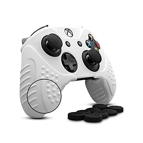 - CHINFAI Xbox One Controller Silicone Skin Case Anti-slip Protective Grip Cover for Xbox 1 with Thumbstick Caps Set (White)