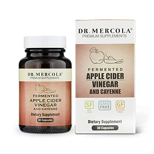 Dr. Mercola, Organic Fermented Apple Cider Vinegar and Cayenne Pepper, 30 Servings (30 Capsules), Non GMO, Soy-Free, Gluten-Free (Organic Apple Cider Vinegar Benefits For Belly Fat)