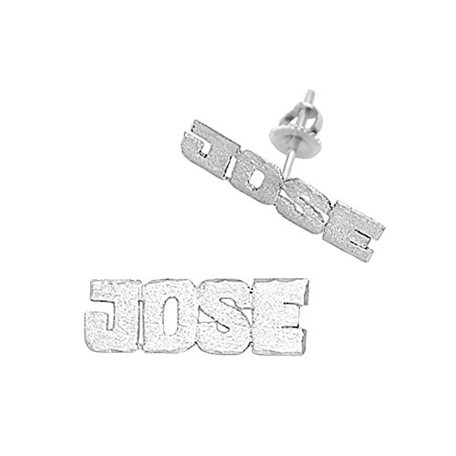 Personalized Plate Earring Name Jewelry (14Kw-Lee806A 14K White Gold 3/4