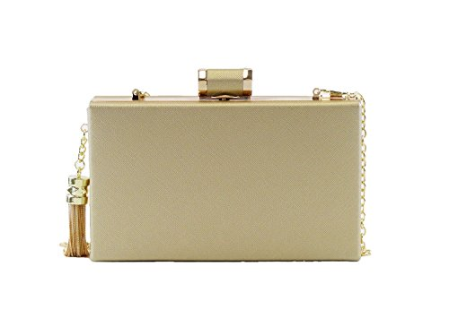 Hearty Trendy Faux Leather Metal Tassel Minaudiere Clutch - Gold