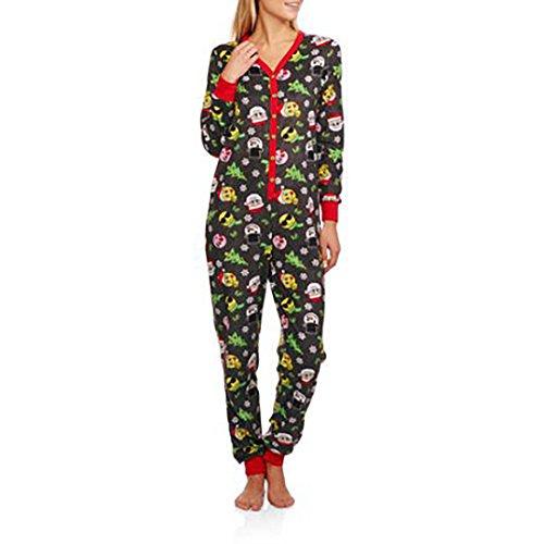 Secret Treasures Women's Christmas Emoji Micro Fleece Union Suit Pajamas