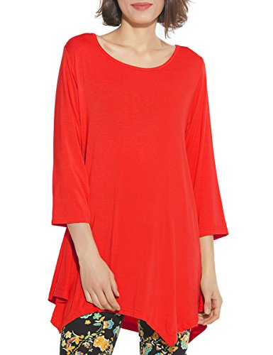 BELAROI Women 3/4 Sleeve Swing Tunic Tops Plus Size T Shirt (L, Red) -