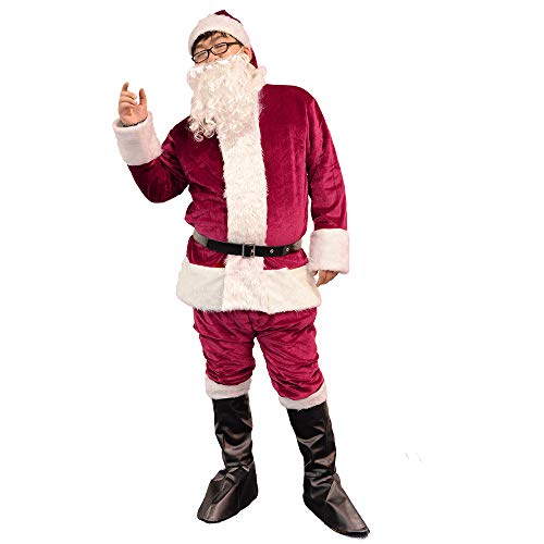 (Bonng Dark Red Men's Deluxe Santa Suit 6pcs Christmas Adult Santa Claus Costume Holiday Outfit Santa Cosplay)