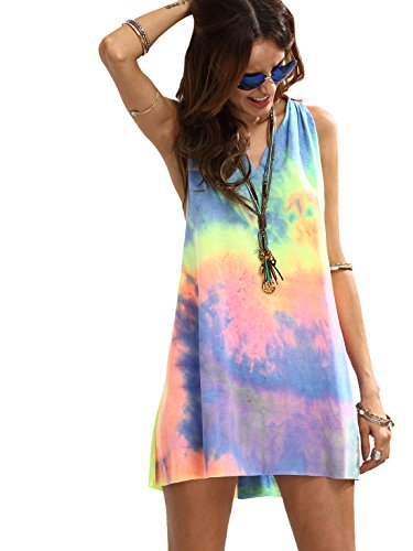 Romwe Women's Sleeveless V Neck Tie Dye Tunic Tops Casual Swing Tee Shirt Dress Multicolored XS