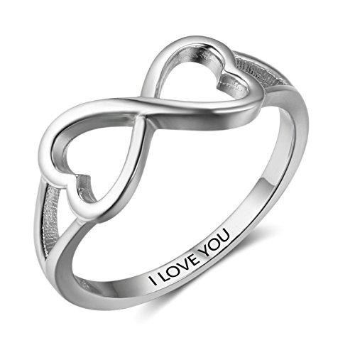 Beydodo Anillo Plata de Ley 925 Anillo de Mujer, Plata I Love You Anillo Doble Corazón Infinito Anillo Talla 15 Anillo de...