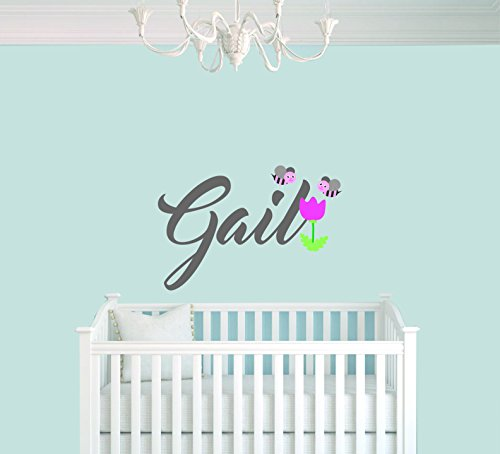 759 Series - Personalized Name Flower And Bee Animal Series - Baby Girl - Wall Decal Nursery For Home Bedroom Children(759) (Wide 22