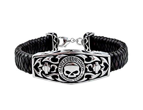 Harley-Davidson Mens .925 Silver Willie G Skull Tribal Flame Leather ID Bracelet (8) (Bracelet Men Harley)