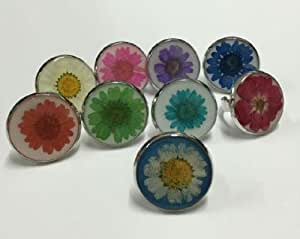 AuCatStore(TM) 9 PCS High Quality Real Mix Colorful Dried Flower Smart Ring Pressed Jewellery