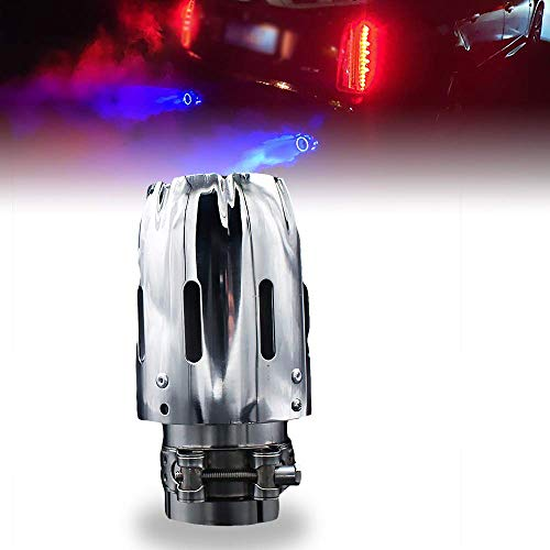 63mm Exhaust Tips Stainless Steel Muffler Car Exhaust Tail Pipe Modification Luminous Tube With Blue Flame LED light - Flames Stainless Exhaust Tip