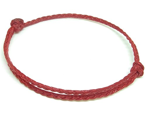 BUSABAN Asian Handmade Bracelet Double Rope Plait Braided Wax String (Red)