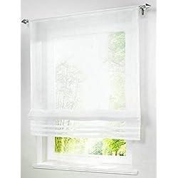LivebyCare 1pcs Solid Roman Shades Voile Ribbon Adjustable Rod Pocket Balcony Window Curtain Panels for Play Room Decor Decorative