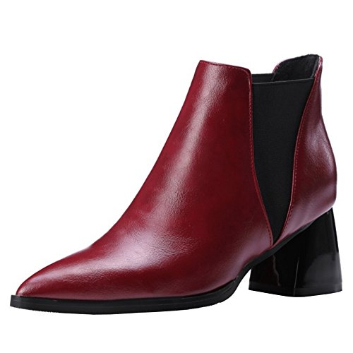 COOLCEPT Women Fashion Pointed Toe Chelsea Boots Ankle High Block Heel Red