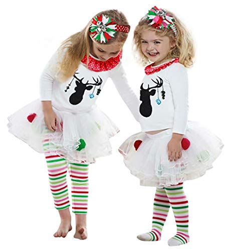 EGELEXY Christmas Baby Little Girls Reindeer Long Sleeve Reindeer Outfit Set of 2 Shirt + Tutu Pants Size 3-4 Years/Tag110 (White)