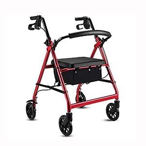 Days-Pro Mobiclinic Andador para Ancianos de 4 Ruedas | Aluminio Ultraligero | Plegable | con Frenos de Mano y Puños Ergonómicos | Incluye Cesta,Red: ...