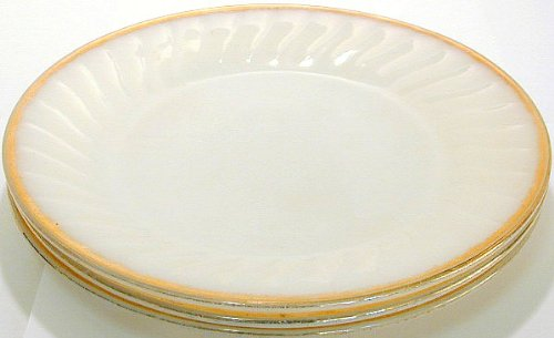GL149 - Hocking Fire-King Swirl gold overlay dinner plate 3 pcs