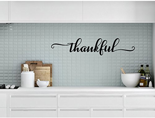 Thankful Vinyl Decal, Thankful Decal, Kitchen Decor, Handwritten Blessed Decal, Dining Room Decal, Thanksgiving Decor, Thanksgiving Decal