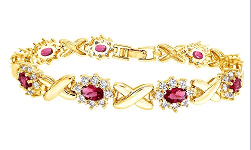 Ruby 14k Yg Clasp - Simulated Pink Ruby and Cubic Zirconia Link Womens XO Bracelet In Yellow Gold Over Brass -7