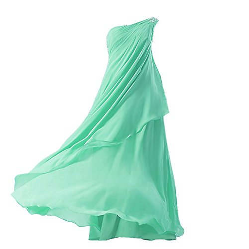 FAIRY COUPLE Big Girls' A-line Chiffon One Shoulder Flower Girl Dress for Wedding K0084 10 Mint (Green Fairy Dress)