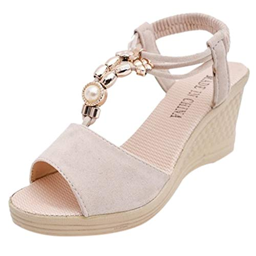 (Women's Wedge Sandals Casual Peep Toe Ankle Strap High Platform Shoes Summer Bead Pearls T-String Roman Heeled Sandals (Beige, US:5))