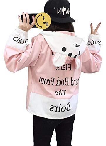Con Relaxed Colori Facile College Manica Bomber Giacche Moda Giacca Lunga Digitale Ragazze Libero Misti Outerwear Rosa Chic Ragazza Tempo Dolce Donna Stampate Autunno Stile Cappuccio P7wxFqd