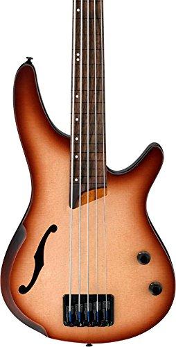 Ibanez SRH505F 5-String Fretless Hollowbody Electric Bass Guitar Flat Natural Browned Burst