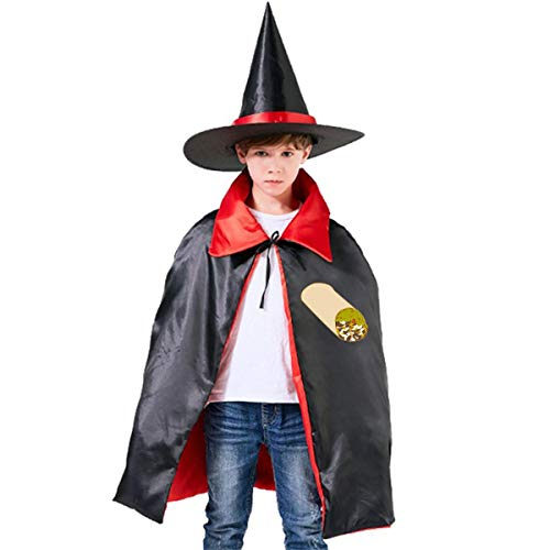 Kids Burrito Food Halloween Party Costumes Wizard Hat Cape Cloak Pointed Cap Grils Boys