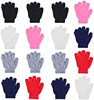 WEWINK PLUS Kid's Gloves 16 Pairs Winter Magic Gloves Stretchy Full Finger Boys or Girls Knit Gl