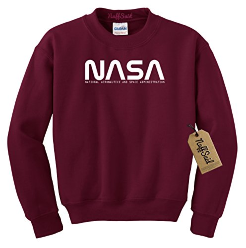 NuffSaid NASA Font Logo Crewneck Sweatshirt Sweater Pullover - Unisex Crew (Large, Maroon) ()