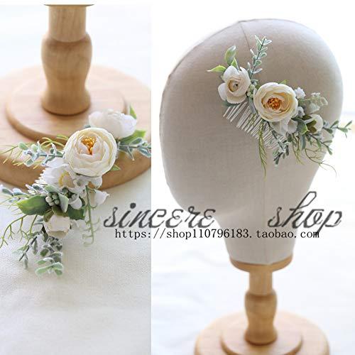 (OLIJU Women Jewelry Department Pretty Custom Bridal Wreath Western Bridesmaid Flower Girl Hair Comb Boutique Photography (a Comb)