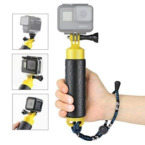 SOONSUN Floating Hand Grip for GoPro Hero 7, 6, 5, 4, 3+, 3, 2, 1 and Other Action Cameras - Hollow Interior for Storage/Anti-Skid Handle for Firm Grip/Lanyard / 1/4 Tripod Mount Adapter Included