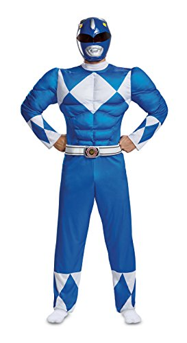 Disguise Men's Plus Size Blue Ranger Classic Muscle Adult Costume, XXL -