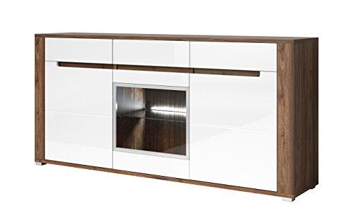 NAPLES chest of drawers - wide 3 door sideboard, with three drawers and LED - Large 3 Drawer Sideboard