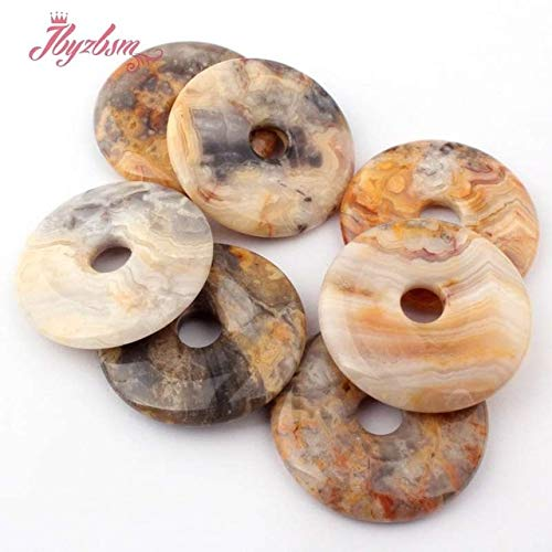 Calvas 25,30,35mm Round Donut SkyBlue Sea Sediment Stone Beads Pendant 1 Pcs for DIY Necklace Jewelry Making,Wholesale - (Color: Crazy Lace Agate)