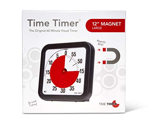 Time Timer Original 12 inch MAGNET; 60 Minute Visual Timer - Classroom or Meeting Countdown Clock for Kids and Adults (Black)