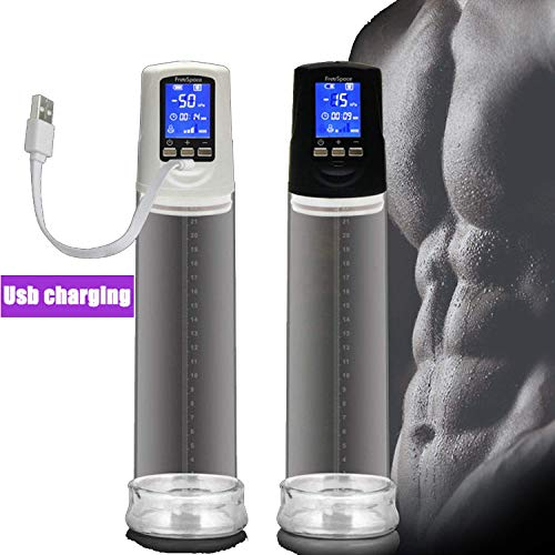 IUFEW Tshirt Men Masturbating Male USB Rechargeable Male C-ock P-ump LED Automatic Male D-ick E-nhancement Superior M-assage Care,Black