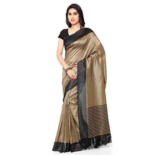 Rajnandini Women's Tussar Silk Stripes Printed Saree(JOPLNB3011D_Beige&Black_Free (Stripe Saree)