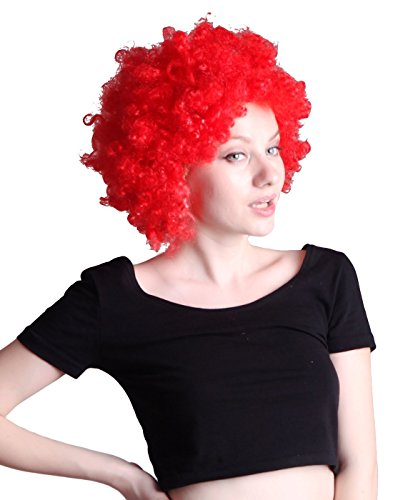 HDE Neon Color Afro Curly Clown Halloween Costume Party Wig Fake Goofy Unisex Hair (Red) - Neon Colors Costumes